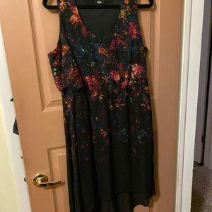 Asymmetrical high low sleeveless watercolor dress